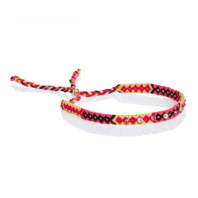 Wayuu anklet with Swarovski crystals - Yellow/PInk