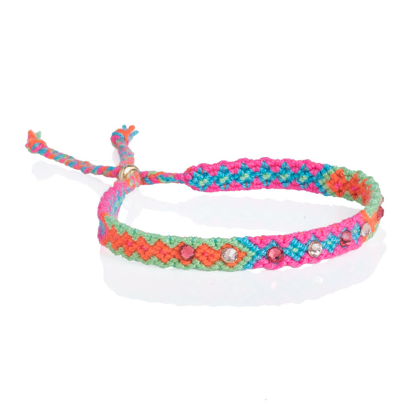 Wayuu anklet with Swarovski crystals- Green/Pink