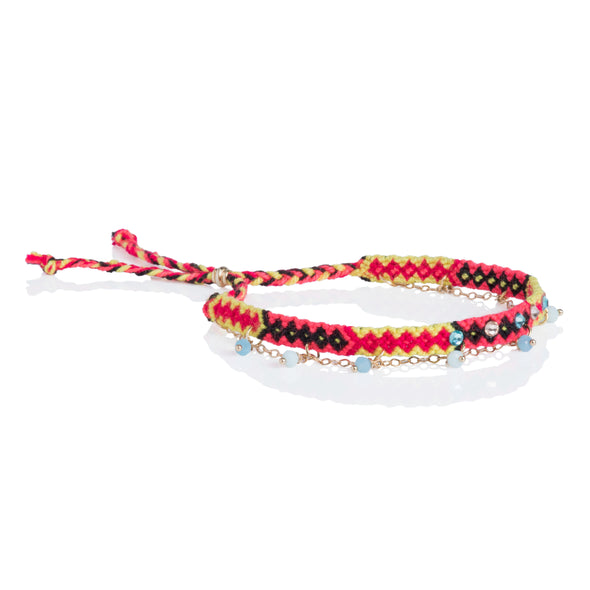Wayuu anklet with Swarovski crystals and Baeds - Yellow/PInk