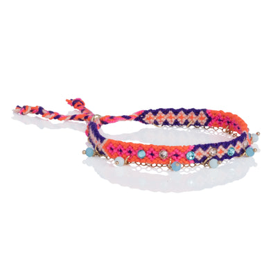 Wayuu anklet with Swarovski crystals and Baeds - Orange