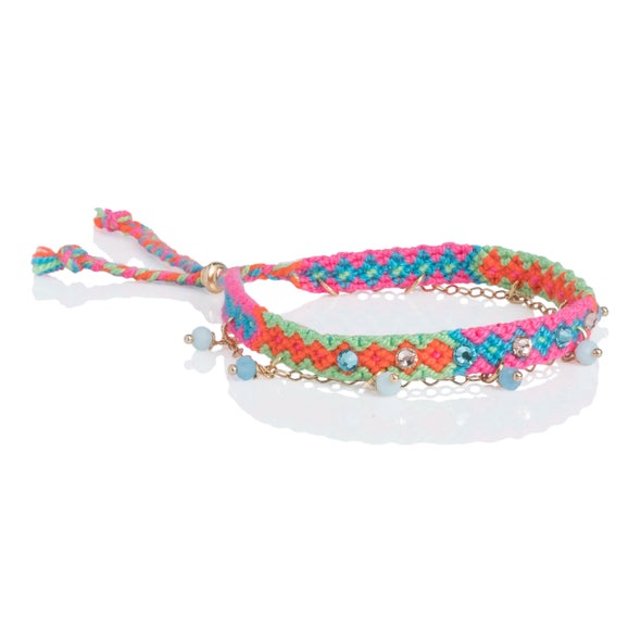 Wayuu anklet with Swarovski crystals and Baeds - Green/PInk