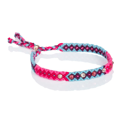 Wayuu anklet with Swarovski crystals- Blue/Pink
