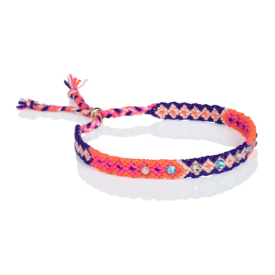 Wayuu anklet with Swarovski crystals - Orange