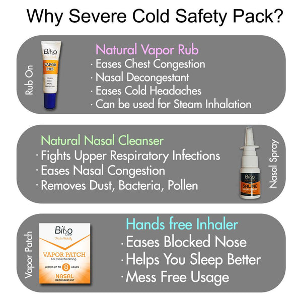 Bibo Severe Cold Relief Pack | Nasal Blockage & Headache | 3 Products