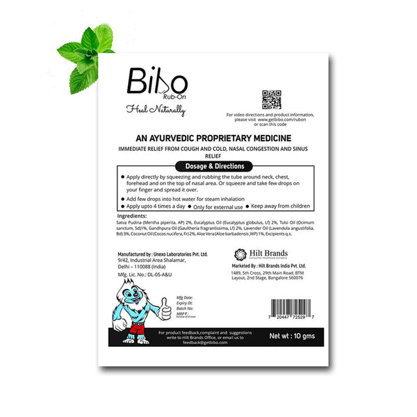 Bibo Rub-On | FREE from Petroleum Jelly | ZERO Touch Application | 10Gm Tube