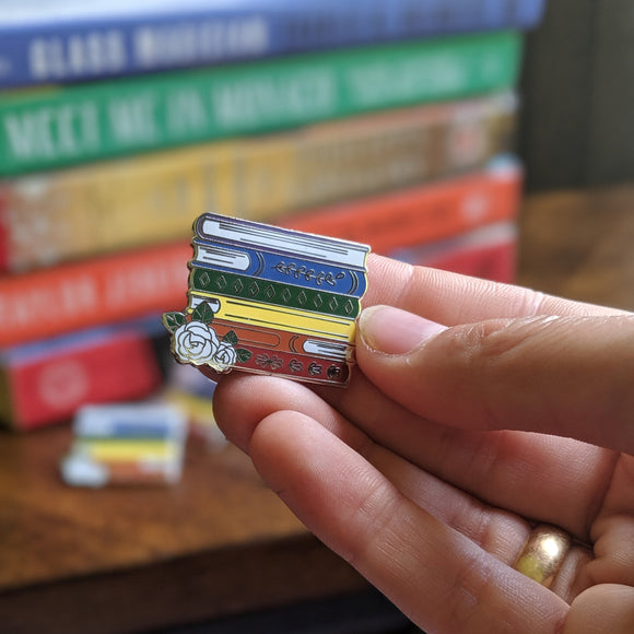 Rainbow Book Stack - Bookish Pin