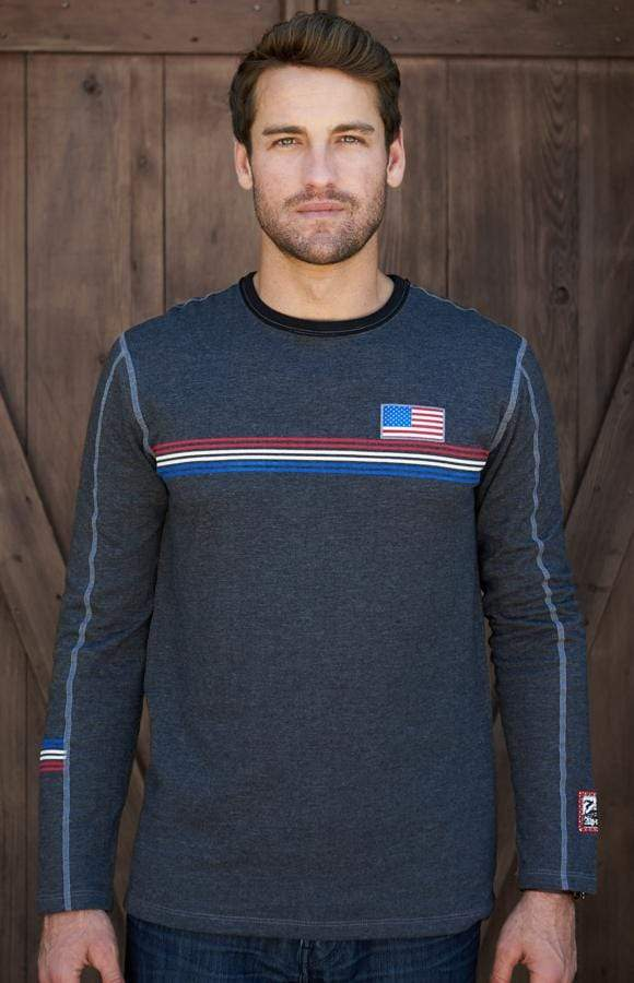 Men's USA Crew | Men's Long Sleeve Tee | Men's Soft Crew Neck Alp-n-Rock Team USA Men's Crew Shirt (Heather Black)