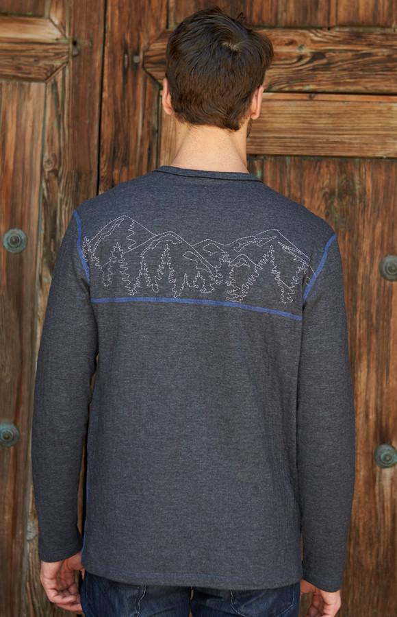 Men's Soft Crew Neck | Men's Long Sleeve Tee | Men's Mountain Crew Alp-n-Rock Treeline Men's Crew Shirt (Heather Black)
