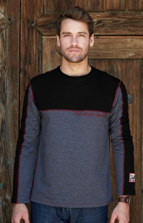 Men's Soft Crew Neck | Men's Long Sleeve Tee | Men's Crew Alp-n-Rock Unlimited Vertical Men's Crew (Black)