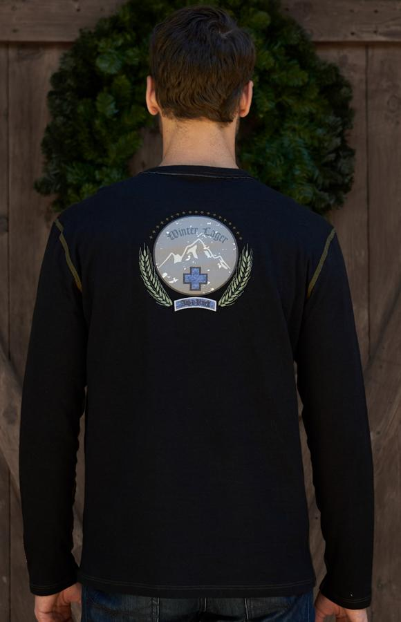 Men's Soft Crew Neck | Men's Long Sleeve Tee | Men's Lager Crew Alp-n-Rock Winter Lager Men's Crew Shirt (Black)