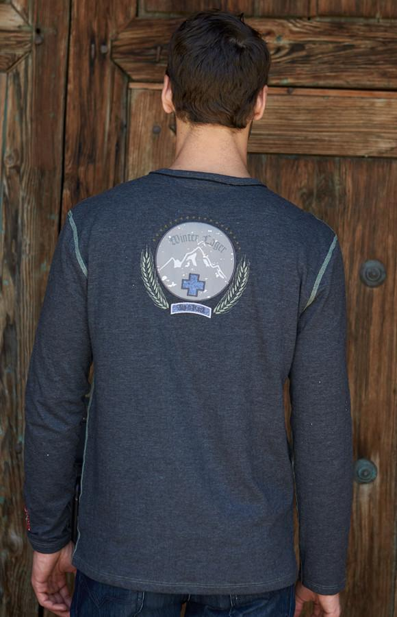Men's Soft Crew Neck | Men's Long Sleeve Tee | Men's Lager Crew Alp-n-Rock Winter Lager Men's Crew Shirt (Heather Black)