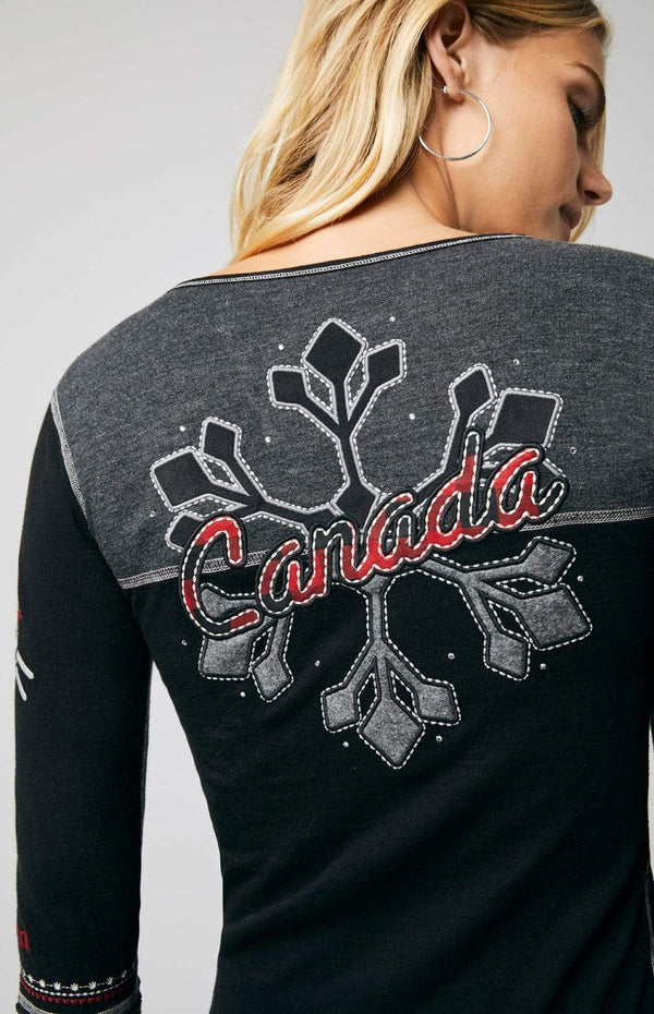Alp-n-Rock Womens Henley Shirt Vintage Snowflake Canada Henley