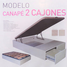 Load image into Gallery viewer, X GA - Canapé with two drawers - with tapi 'solid' top (135cm x 190cm 425€, 150cm x 190cm 450€) or slatted top (135cm x 190cm 425€, 150cm x 190cm 450€).