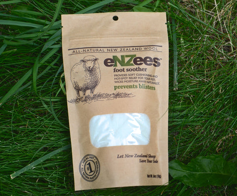 Get 2 free bags of eNZees Foot Soother, all-natural blister prevention