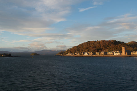 View of Oban Scotland from Caledonian MacBrayne ferry.