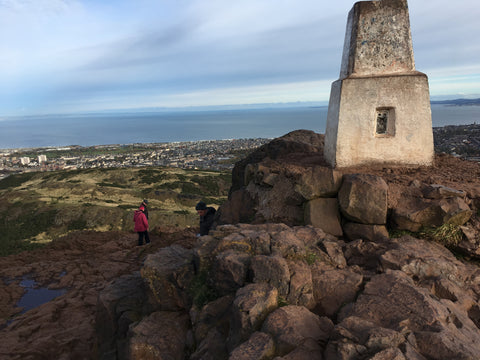 The trig point at the top of Arthur's Seat Edinburgh Scotland