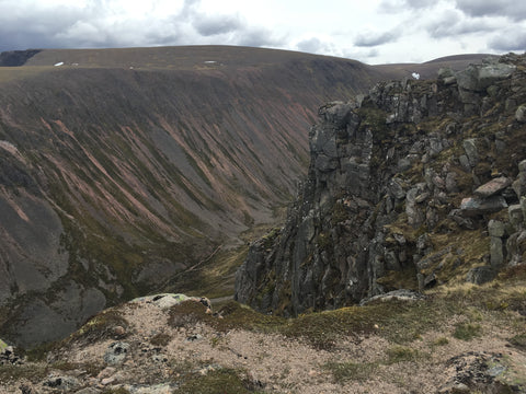Looking down into the Lairig Ghru in Cairngorms National Park, Scotland