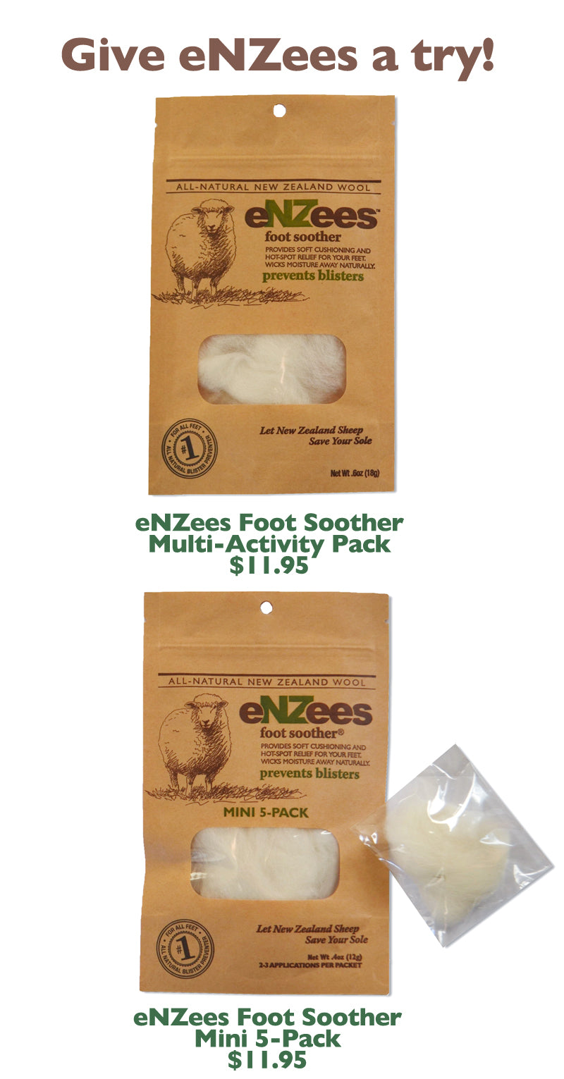 Use eNZees Foot Soother to prevent blisters while hiking, running, walking