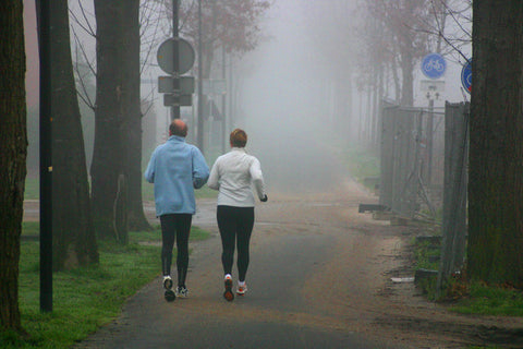 Staying fit in winter, jogging buddies