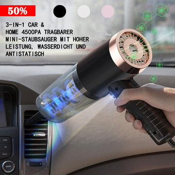 🔥3-In-1 Car &Home 4500Pa High-Power Portable Mini Vacuum Cleaner, Waterproof And Anti-Static