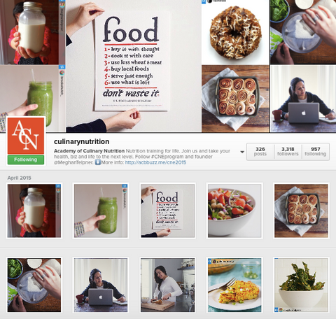 Academy of Culinary Nutrition Instagram
