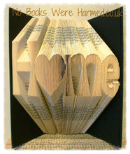 "Load image into Gallery viewer, ""H♥me"" Home with love heart 'o' : : New home, moving present, book art : : Home is where the heart is book art ♥"
