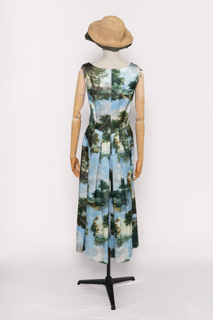 Load image into Gallery viewer, Landscape Print Silk Dress