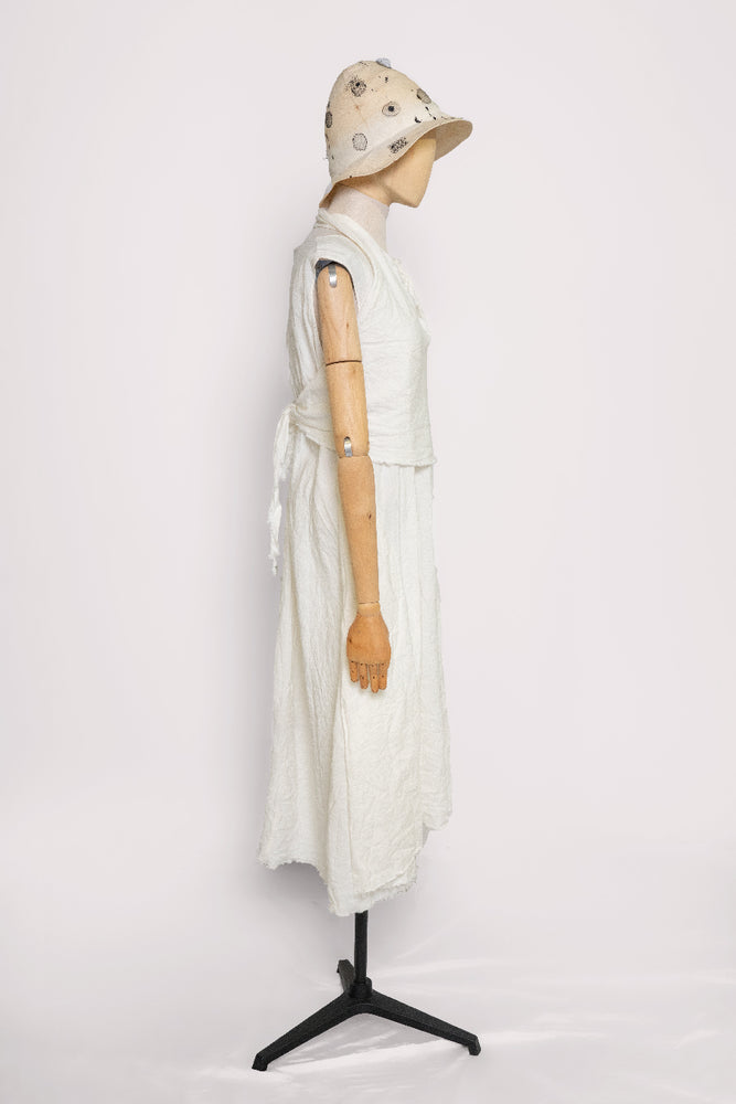 Tie Top White Linen Dress