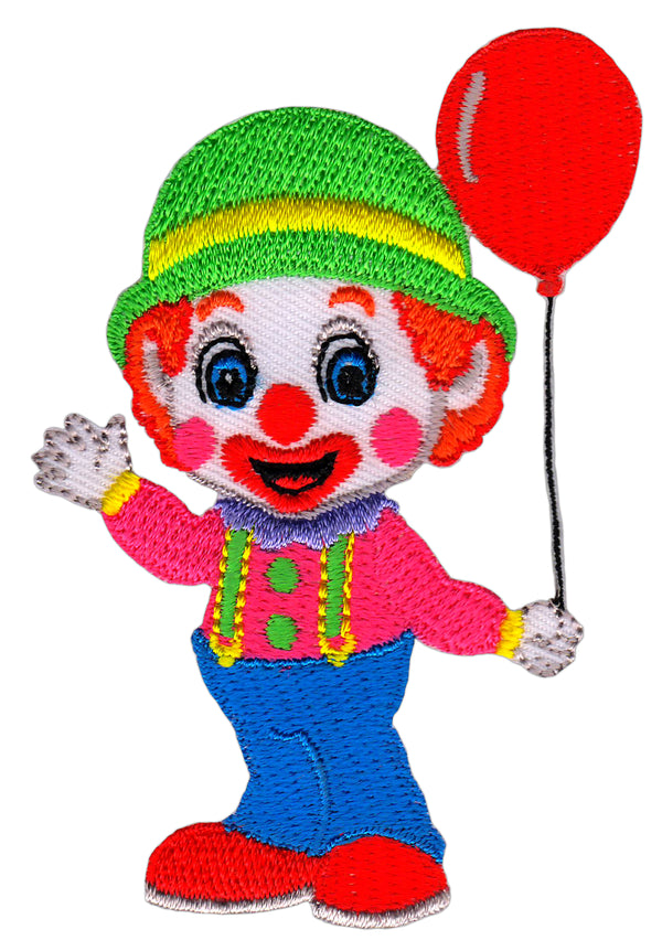 #ab69 Happy Clown mit rotem Luftballon Aufnäher Bügelbild Applikation Patch Größe 6,0 x 8,5 cm