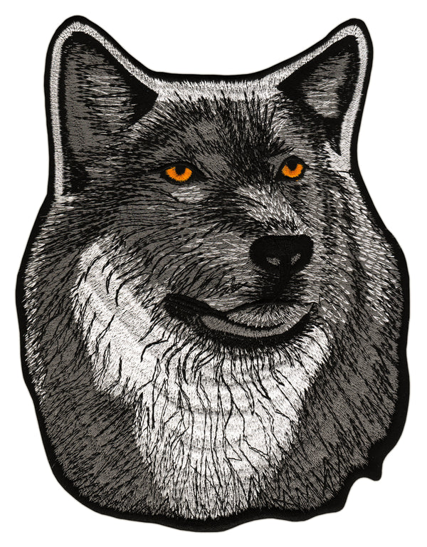 #Backpatch #66 Wolf Grau Hund Center Patch Biker Kutte Rückenaufnäher Back Patch Groß 17,8 x 23 cm