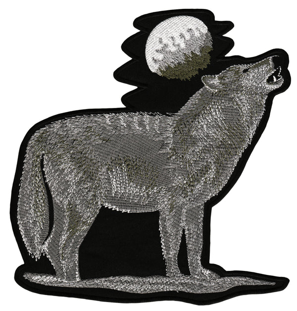 #Backpatch #69 Heulender Wolf Mond Center Patch Biker Kutte Rückenaufnäher Back Patch Groß 21 x 22,2 cm
