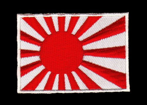 #ad40 Japan Flagge Rising Sun Aufnäher Asien Patch Bügelbild Applikation Größe 7,3 x 4,9 cm
