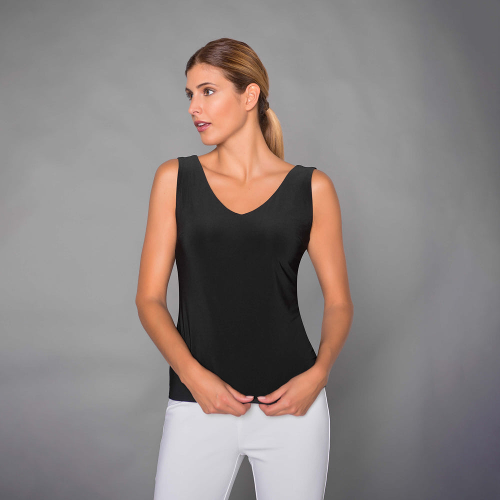 Load image into Gallery viewer, Black Essential Signature V-Neck Tank Top