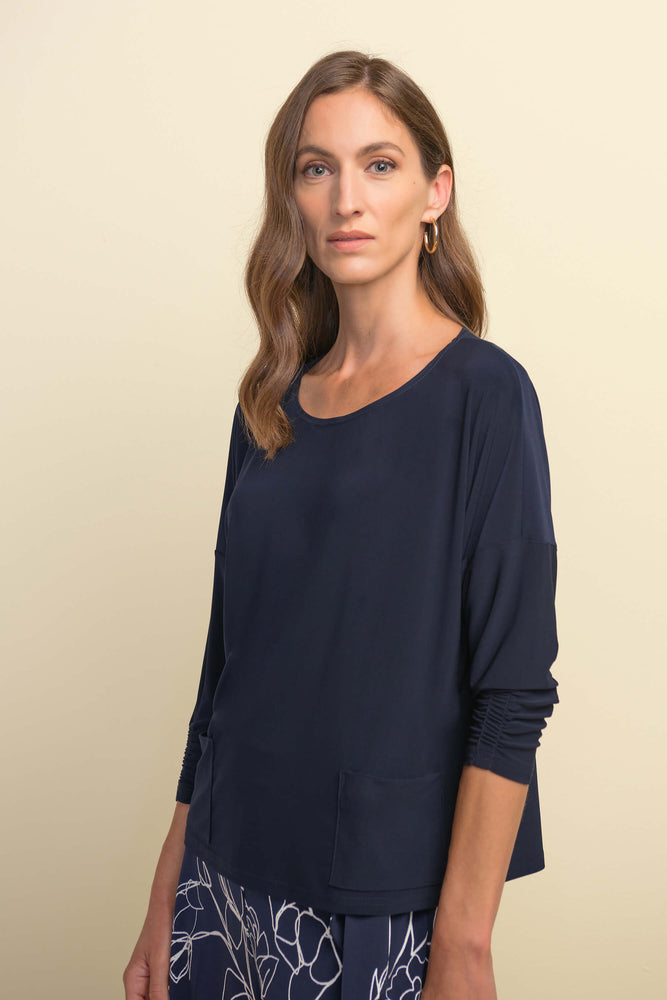 Midnight Blue Top w/ Ruched Sleeves