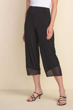 Black Wide Capri with Mesh Hem