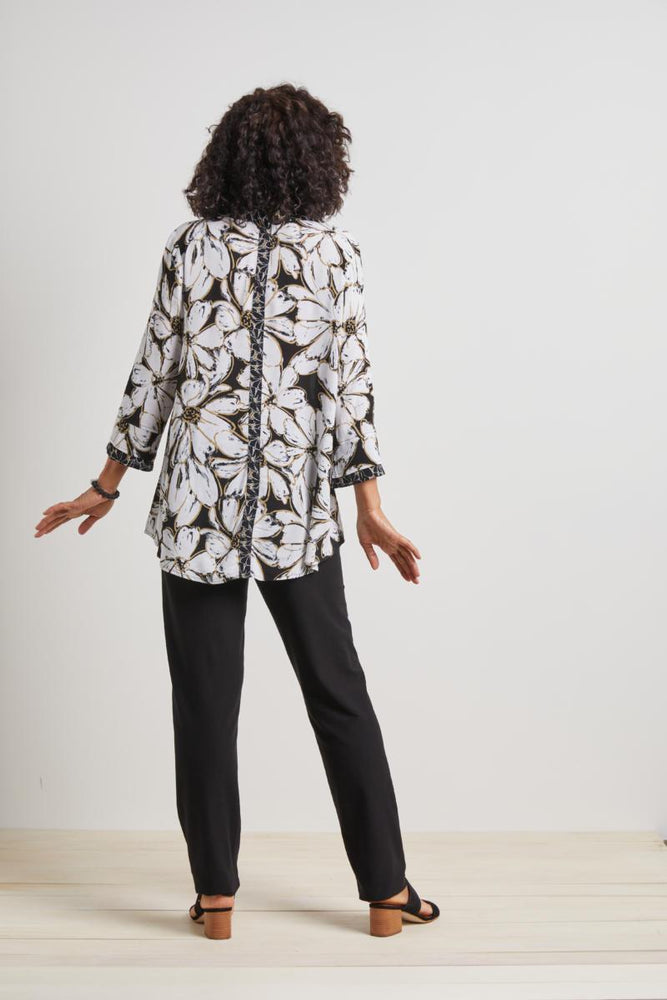 Load image into Gallery viewer, Black / White / Gold Print Blouse