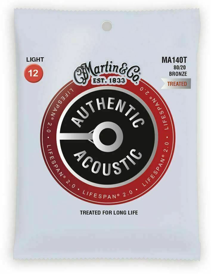 Martin Authentic Acoustic Lifespan Guitar Strings 80/20 Bronze  MA140T .012-.054