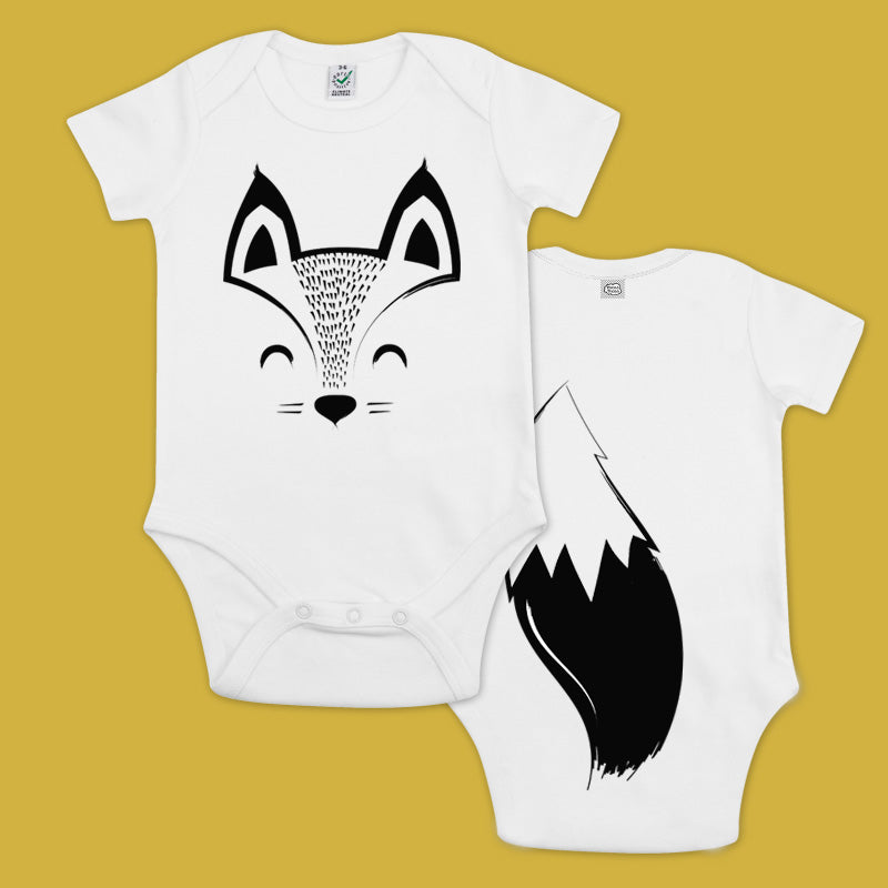 baby bodysuit with a printed box and a tail in the back