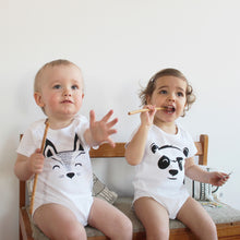 Load image into Gallery viewer, babies with baby bodysuits with a printed fox and a panda with a tail in the back