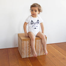 Load image into Gallery viewer, babies with baby bodysuit with a printed fox with a tail in the back