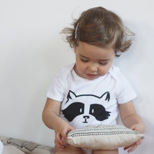 Load image into Gallery viewer, baby with a baby bodysuit with a raccoon print and a printed tail in the back