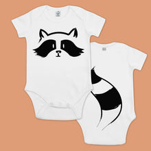 Load image into Gallery viewer, Baby bodysuit with a printed raccoon and a panda with a tail in the back
