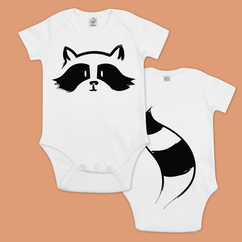 Baby bodysuit with a printed raccoon and a panda with a tail in the back