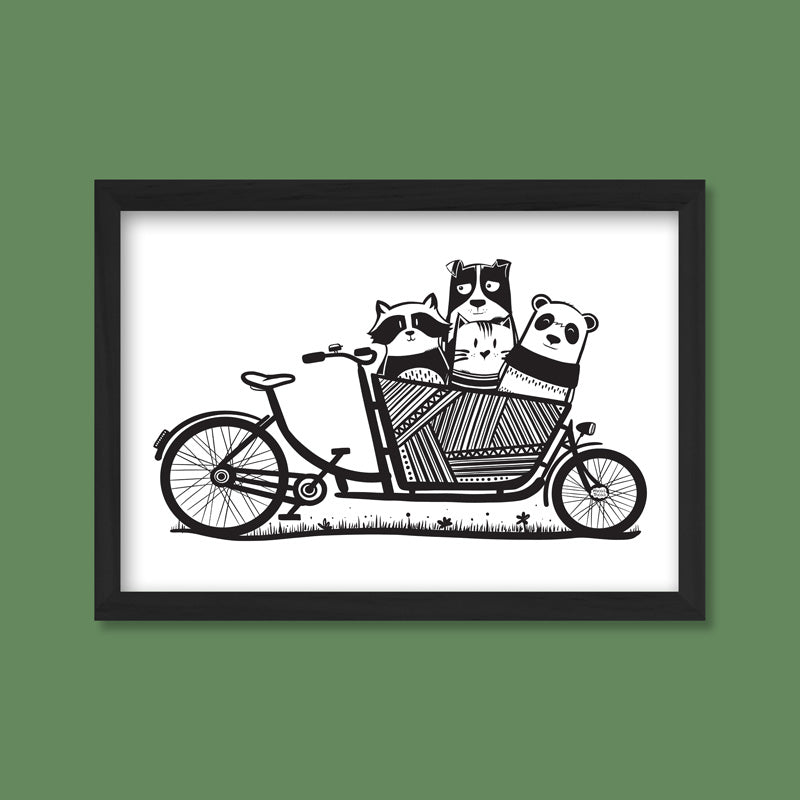 Poster with a print with a cargo bike and little animals in the basket