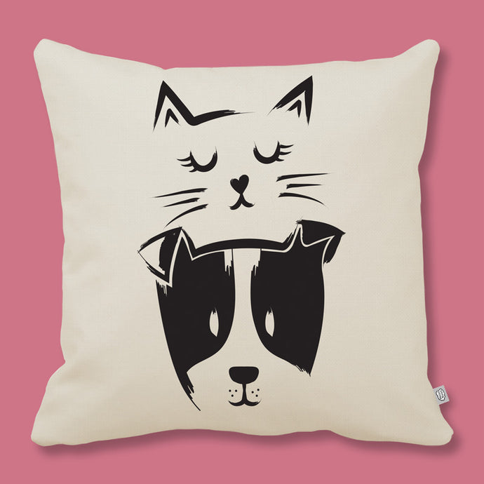 cushion a cat and a dog print