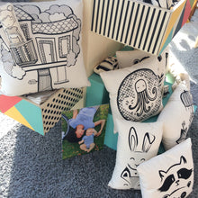 Load image into Gallery viewer, combination of cushions and unique soft toys with black prints