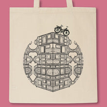 Load image into Gallery viewer, tote bag with dutch houses and a bike illustration