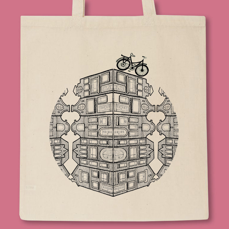 tote bag with dutch houses and a bike illustration