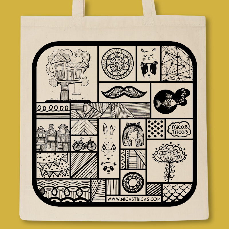 tote back with a black print full of micastricas small illustrations