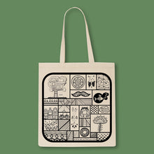 Load image into Gallery viewer, tote back with a black print full of micastricas small illustrations